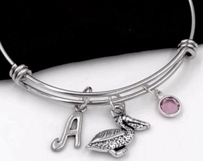 Pelican Charm Bracelet, Silver Bird Bangle, Veternary Gift, Gifts for Women and Girls, Animal Lover, Personalized Initial Birthstone Jewelry