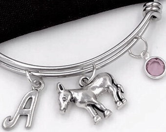 Donkey Charm Bracelet, Silver Donkey Bangle, Farm Animal, Veterinary Gift, Gift for Women and Girls, Personalized Initial Birthstone Jewelry