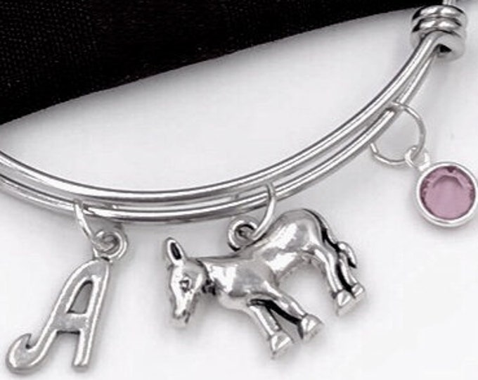 Donkey Charm Bracelet, Silver Donkey Bangle, Farm Animal, Veterinary Gift, Gift for Women and Girls, Personalized Initial Birthstone Jewelry