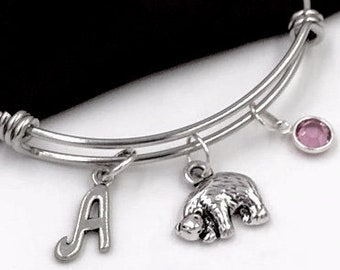 Bear Bracelet, Bear Jewelry for Women and Girls, Animal Gift Ideas, Silver Bear Birthday Gift, Personalized Birthstone Initial Jewelry Gifts
