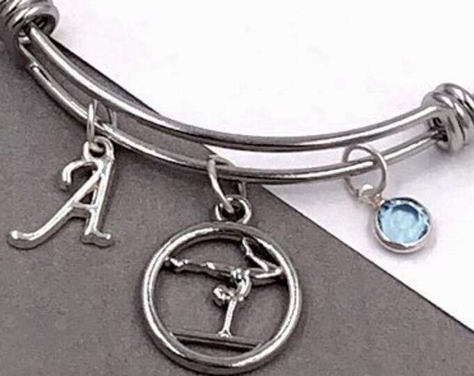 Personalized Gymnastics Gifts, Silver Gymnast Bangle Bracelet for Women and Girls, Sterling Silver Birthstone and Initial Included