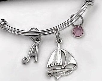 Ship Bracelet, Sailboat Bangle, Gifts For Women and Girls, Transportation Jewelry, Personalized Initial Birthstone Bangle Bracelet