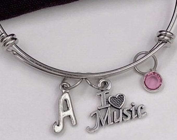 I Love Music Bangle Bracelet, Music Jewelry, Gifts for Women and Girls, Music Coach Gifts, Personalized Initial Birthstone Charm Bracelets