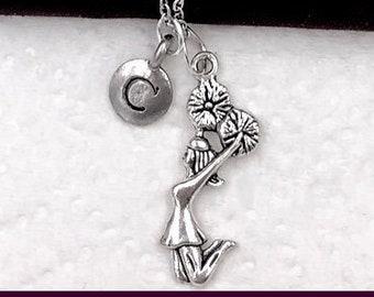 Cheerleader Necklace, Girl's Jewelry, Cheerleader Gifts, Gymnastics Jewelry, Dance Jewelry, Personalized Birthstone and Initial Jewelry