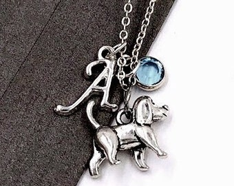 Personalized Beagle Dog Gifts, Silver Beagle Necklace Jewelry for Women and Girls, Sterling Silver Birthstone and Initial Included