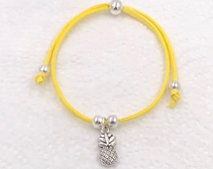 Pineapple Bracelet, Pineapple Charm Bracelet, Pineapple Cord Bracelet, Personalized Charm Bracelet, Pineapple Jewelry, Pineapple Anklet