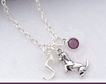 Dog necklace, dog lover gifts, doggie  jewelry, charm necklace, puppy necklace, birthstone necklace, personalized necklace