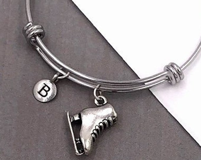 Ice Skate Bracelet, Personalized Silver Jewelry Gifts for Women and Girls Includes Letter Charm, Sterling Silver Birthstone Add On Available