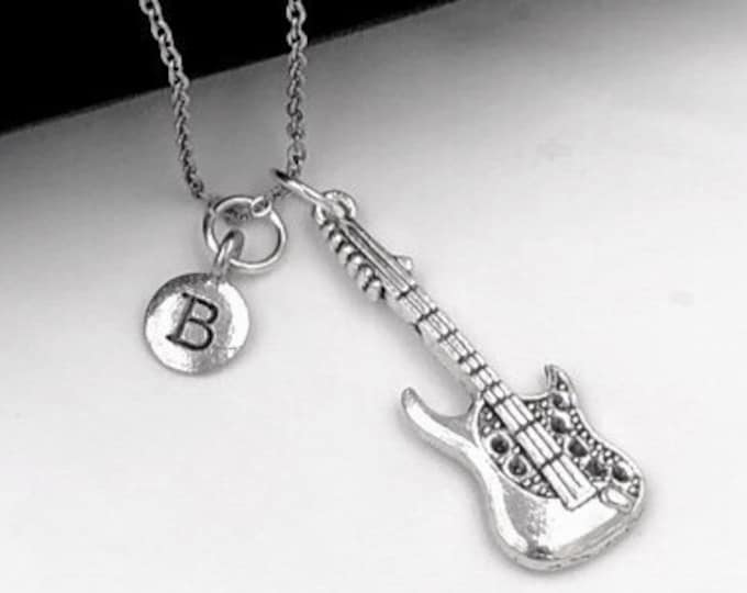 Guitar Necklace, Music Jewelry, Electric Guitar Charm, Gift for Women, Music Student and Coach Gift, Personalized Initial Necklaces