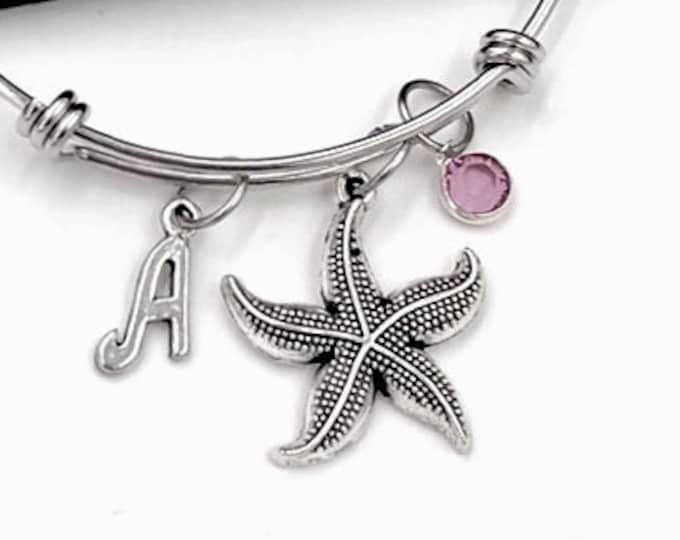 Starfish Bracelet, Summer Tropical Beach Jewelry, Gifts for Women and Girls, Under the Sea Birthday, Personalized Initial Birthstone Charm
