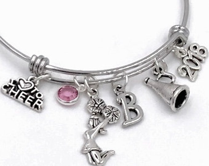 Cheerleading Gifts, Cheer Silver Jewelry Charm Bangle Bracelet for Girls, Personalized Swarovski Birthstone and Initial included