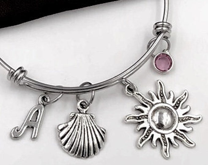 Seashell bracelet, Seashell Bangle, Gifts For Women and Girls, Summer Tropical Beach, Personalized Initial Birthstone Bangle Charm Bracelet