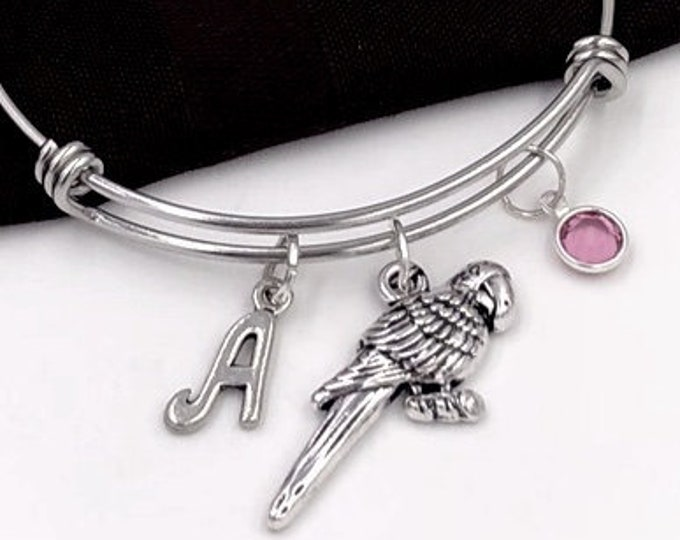 Parrot Bracelet, Silver Parakeet Bangle Charm Bracelet for Women and Girls, Personalized Birthstone Jewelry, Parrot Gift Bangle Ideas