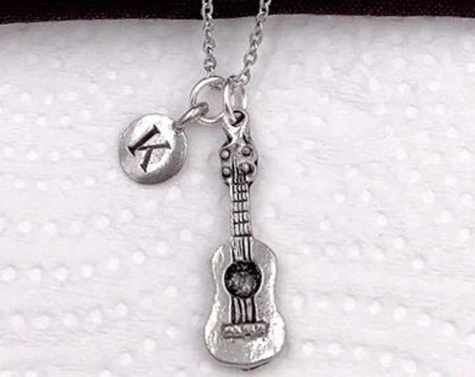 Guitar Necklace, Music Jewelry, Acoustic Guitar Charm, Gift for Women, Music Student and Coach Gift, Personalized Initial Necklaces