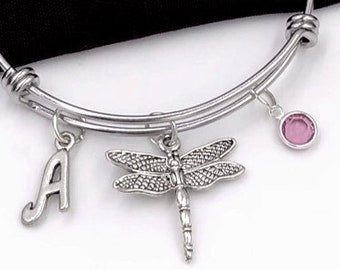 Dragonfly Bracelet, Silver Dragonfly Bangle, Veternary Gift, Animal Gifts for Women and Girls, Personalized Initial Birthstone Jewelry
