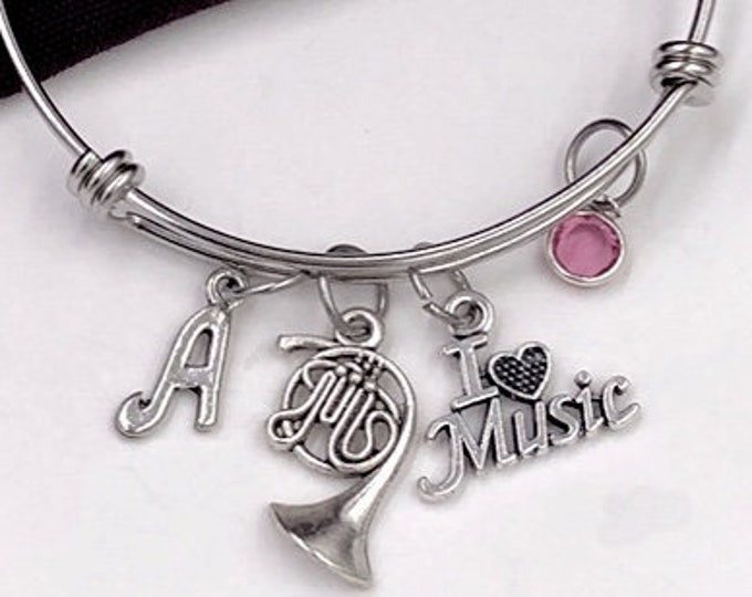 French Horn Bracelet, I Love Music Jewelry, Gifts for Women and Girls, Music Coach Gifts, Personalized Initial Birthstone Bangle Bracelets