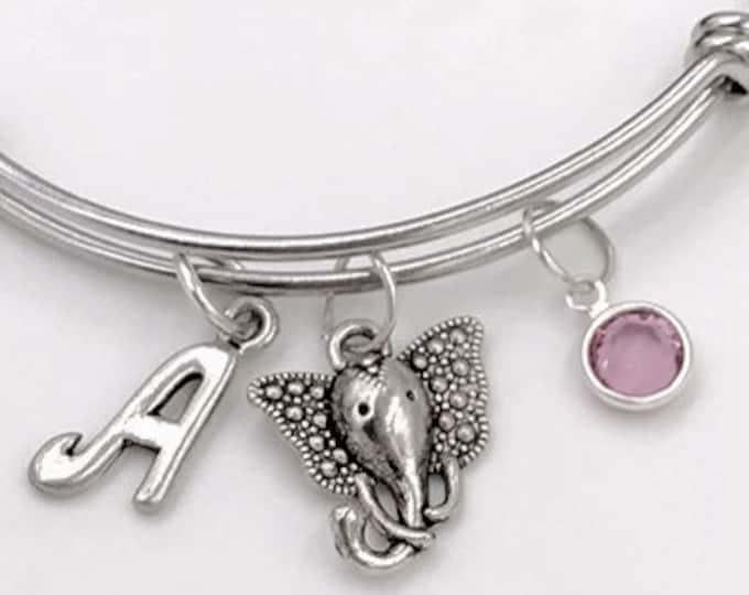 African Elephant Bangle Charm Bracelet, Animal Jewelry, Gifts for Women and Girls, Elephant Head, Personalized Initial Birthstone Bracelet