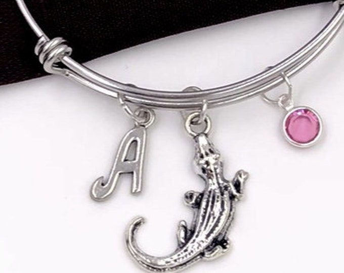 Alligator Bracelet, Crocodile Bangle, Gator Charm, Veternary Gift, Animal Gifts for Women and Girls, Personalized Initial Birthstone Jewelry