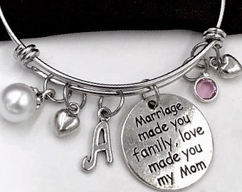 mother in law bracelet mother of the groom silver charm bracelet gift personalized jewelry mother jewelry gift idea message bracelet