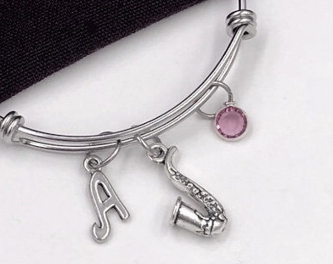 Saxaphone Bracelet, Music Jewelry, Gift for Women and Girls, Music Student and Coach Gift, Personalized Initial Birthstone Bangle Bracelets