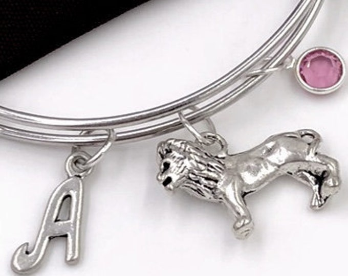 Silver Lion Bracelet, Lion Charm Bangle, King of the Jungle Zoo Animal, Gifts for Women and Girls, Personalized Initial Birthstone Jewelry