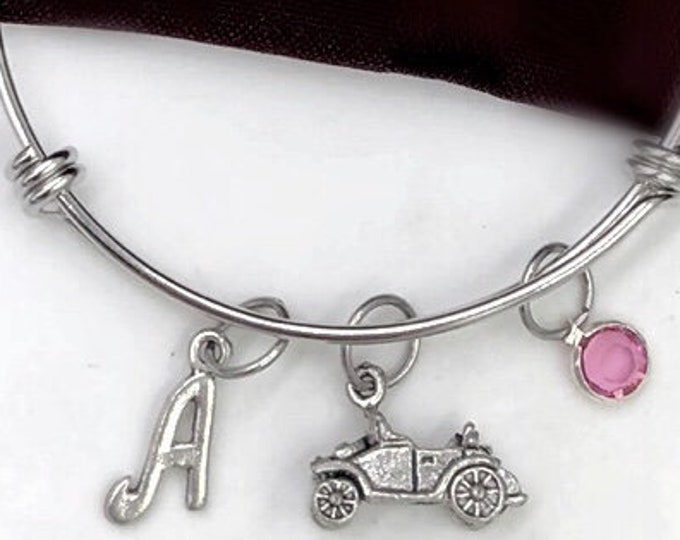 Personalized New Car Owner Bangle Bracelets, Gift Idea For Women and Girls, Sweet 16 Birthday Jewelry, Driver's License, Vintage Automobiles