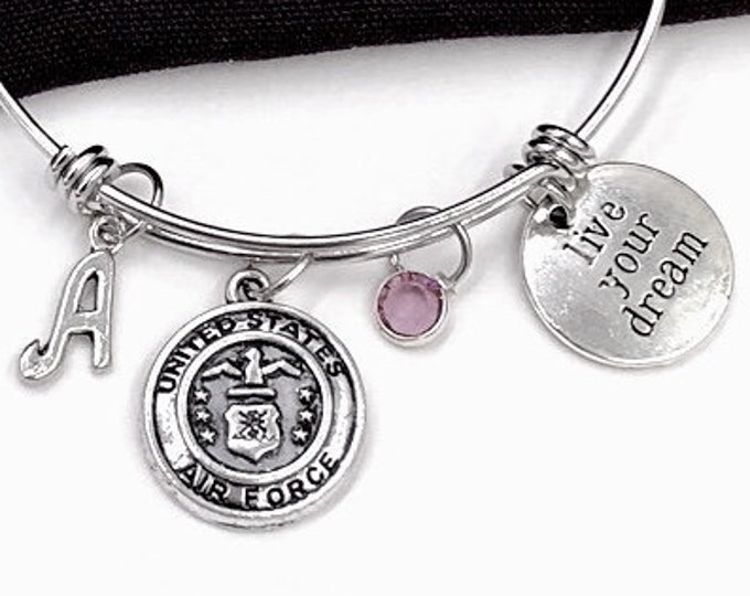 Inspirational Silver Military Bracelet Jewelry Gift Idea for Women and Girls, Includes Sterling Silver Birthstone and Letter Style Charm