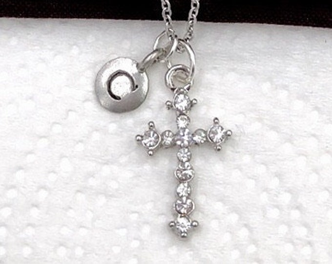 Christian Necklace, First Communion Jewelry, Religious Gifts, Popular Necklace, Women's and Girls Silver Rhinestone Cross Charm Personalized