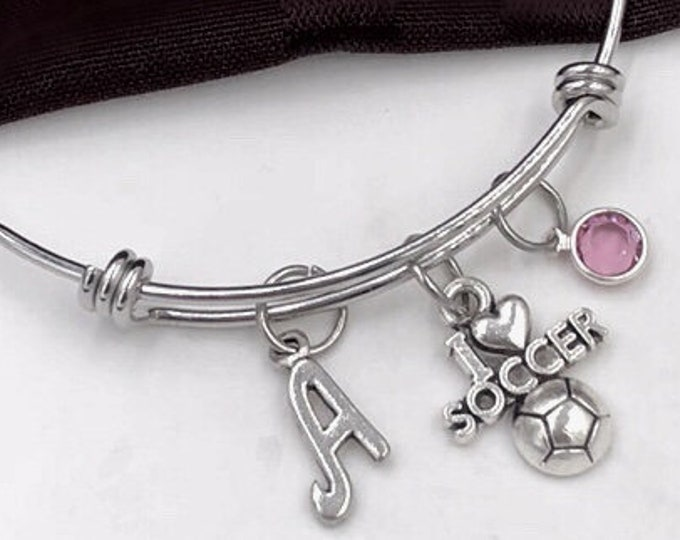 I Love Soccer Bracelet, Soccer Bangle, Gifts For Women and Girls, Sports Jewelry, Personalized Initial Birthstone Bangle Bracelet