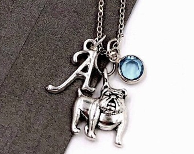 Personalized Bulldog Gifts, Silver Bulldog Necklace Jewelry for Women and Girls, Sterling Silver Birthstone and Initial Included