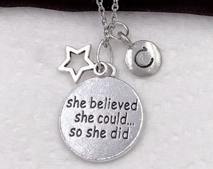 She Believed She Could So She Did Necklace, Inspirational Jewelry Gifts for Women and Girls, Personalized Silver Initial Necklace