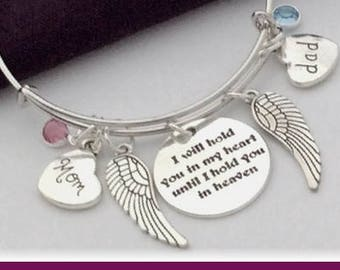 Family memorial bangle, personalized memorial bangle, birthstone memorial bangle, silver memorial heart bangle, Family memorial  jewelry