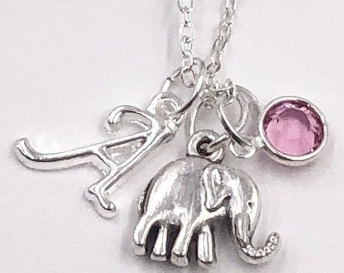 Personalized Silver Elephant Necklace Gift for Girls, Includes Sterling Silver Birthstone and Letter Charm, Great Elephant Animal Gift Idea!