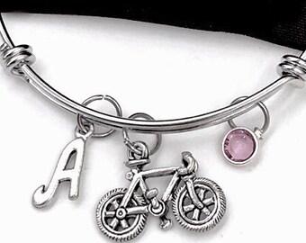Bicycle bracelet, Bike Bangle, Gifts For Women and Girls, Transportation Jewelry, Personalized Initial Birthstone Bangle Bracelet