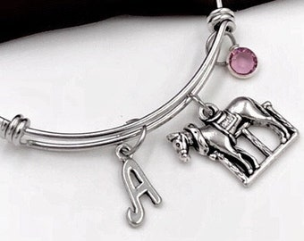 Silver Western Horse Bangle Charm Bracelet, Animal Jewelry, Gift For Women and Girls, Personalized Initial Birthstone Gift for Horse Trainer