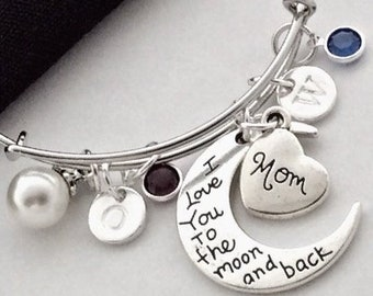 Mothers Personalized Silver Bracelet Jewelry Gifts, Includes Sterling Silver Birthstone(s), Letter Style Charm, and Family Heart Charm!