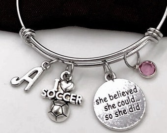 Silver Soccer Ball Bracelet, Sports Team Coach Gift, She Believed She Could so She Did, Inspirational Jewelry, Personalized Initial Bracelet