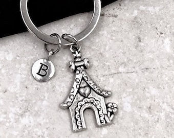 Personalized Silver Initial House Keychain Gifts, New Home Owner Keychain Accessory, Sterling Silver Birthstone Add On's Available