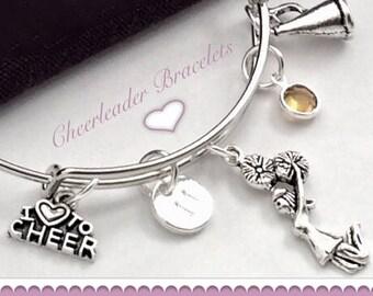 Personalized Cheer Bracelet, Cheer Bangle Charm Bracelet, Cheer Gifts, Cheer Team Jewelry Gifts, Girls Silver Cheerleader Bangle Bracelet,