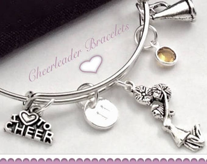 Personalized Cheer Bracelet, Cheer Bangle Charm Bracelet, Cheer Gifts, Cheer Team Jewelry Gifts, Girls Silver Cheerleader Bangle Bracelet,