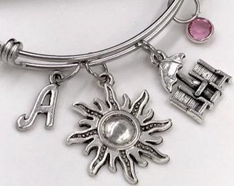 Women's Beach Bangle Bracelet, Girls Sun Charm Bracelets, Summer Beach Jewelry, Personalized Beachchair Vacation Birthstone Bracelet Gifts