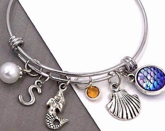 Mermaid Bracelet, Women's Mermaid Silver Bangle Charm Bracelet Gift, Girls Popular Birthstone Mermaid Bracelet, Women's Personalized Jewelry