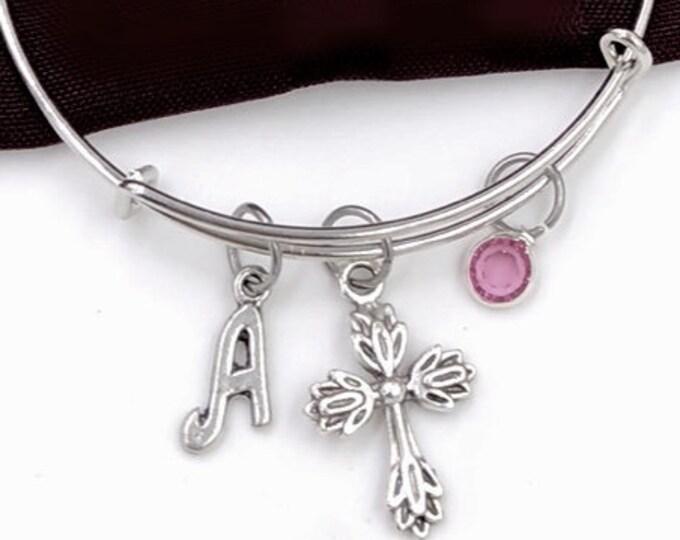 Cross bangle bracelet, cross charm bracelet, cross jewelry, cross gifts, personalized cross bangle bracelet, birthstone cross bracelet