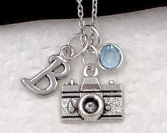 Personalized Camera Necklace Gifts, Silver Camera Jewelry for Women and Girls, Sterling Silver Birthstone and Initial Included