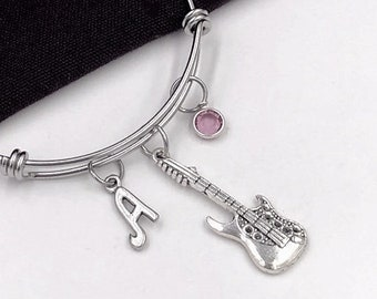 Guitar Bracelet, Music Jewelry, Electric Guitar Charm, Gift for Women, Music Student and Coach Gift, Personalized Initial Birthstone Bangle