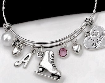 """Ice Skaters Sports Team Bangle Bracelet, Personalized Birthstone Jewelry Gifts for Ice Skating Dance Coach, Includes """"I Love to Skate"""" Charm"""