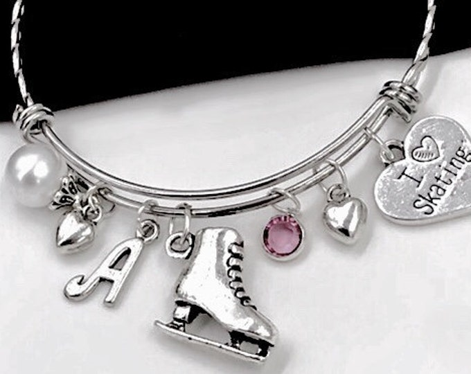 "Ice Skaters Sports Team Bangle Bracelet, Personalized Birthstone Jewelry Gifts for Ice Skating Dance Coach, Includes ""I Love to Skate"" Charm"
