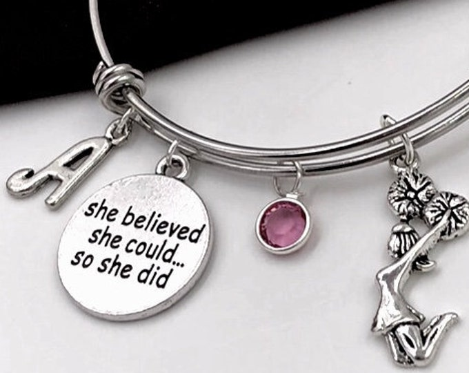 Personalized Cheerleading Gifts, Girls Silver Cheer Jewelry Bracelet, With Sterling Silver Birthstone and Letter Charm, Team Coach Gift Idea