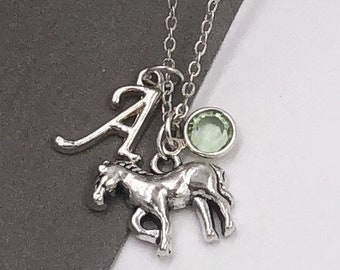 Horse Necklace, Horse Charm Necklace, Horse Jewelry, Horse Gifts, Personalized Long Necklace, Silver Birthstone Necklace, Women's Necklace