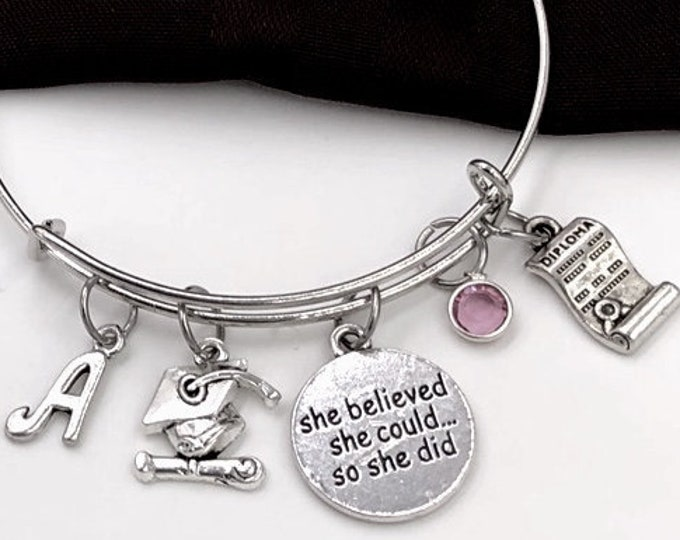 Graduation Bracelet, She Believed She Could so She Did Bangle, Graduation Gift For Girls, Personalized Birthstone Inspirational Jewelry